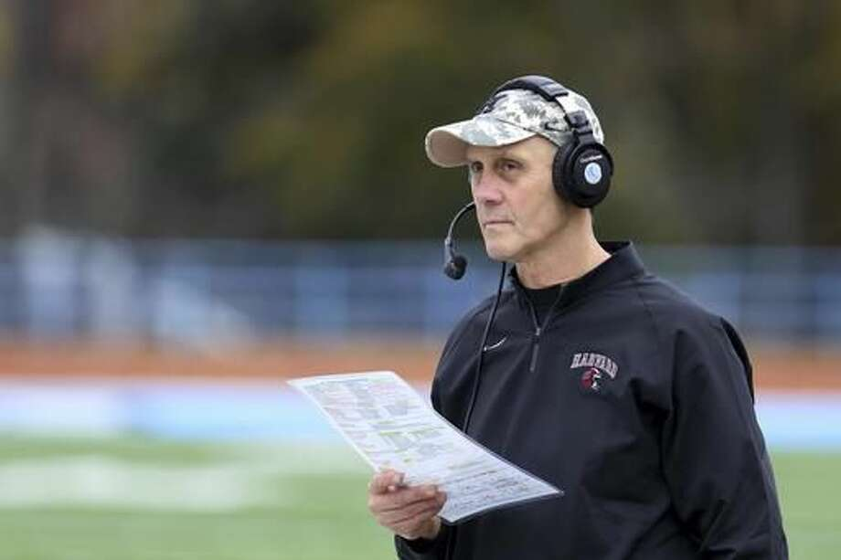 FILE - In this Saturday, Nov. 7, 2015 photo, Harvard football head coach Tim Murphy looks on from the sidelines against Columbia during a college football game in Manhattan, N.Y. With a victory over their archrivals in the 133rd edition of The Game on Saturday, Nov. 19, 2016, Harvard (7-2, 5-1) would clinch a share of a fourth straight Ivy League championship for the first time in the school's history. (AP Photo/Gregory Payan, File) Photo: Gregory Payan