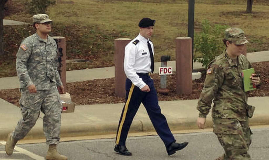 Army Sgt. Bowe Bergdahl is seen leaving a courtroom after a pretrial hearing in Fort Bragg, NC., Monday, Nov. 14, 2016. Bergdahl faces a military trial in 2017 on charges of desertion and misbehavior before the enemy after walking off his post in Afghanistan in 2009. (AP Photo/Jonathan Drew) Photo: Jonathan Drew