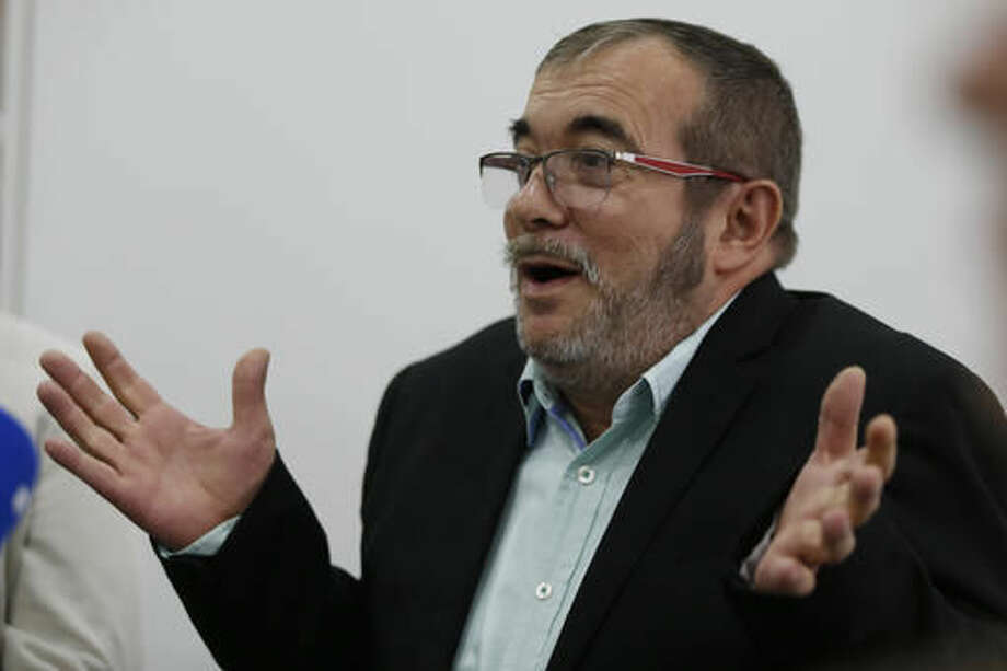 Rodrigo Londono, top leader of the Revolutionary Armed Forces of Colombia, FARC, speaks during a roundtable with foreign journalists in Bogota, Colombia, Friday, Nov. 25, 2016, a day after he signed a second, modified peace accord with Colombia's President Juan Manuel Santos to end the country's half-century conflict. (AP Photo/Fernando Vergara) Photo: Fernando Vergara