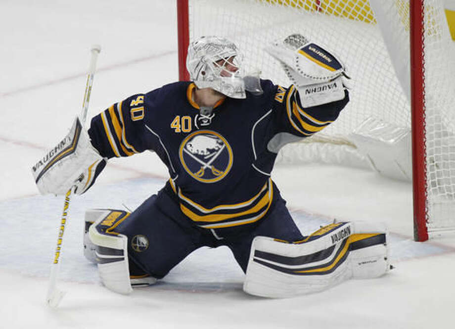 Buffalo Sabres goalie Robin Lehner (40) defends the net during the second period of an NHL hockey game against the Boston Bruins, Saturday, Dec. 3, 2016, in Buffalo, N.Y. (AP Photo/Jeffrey T. Barnes)