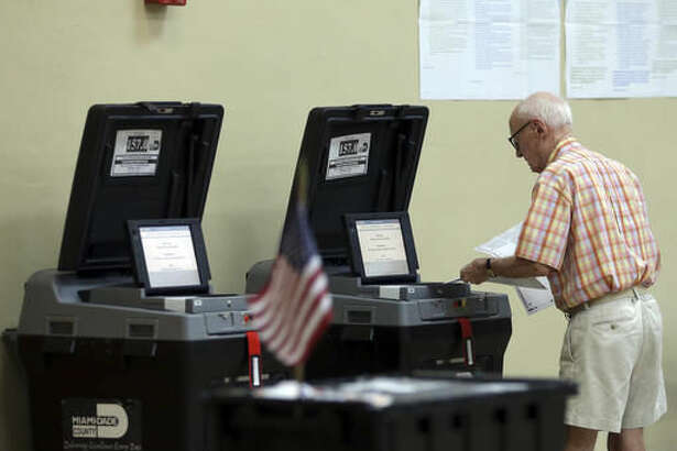 John Walker, 88, places his completed ballot into a machine after voting in the general election, Tuesday, Nov. 8, 2016, in Miami Shores, Fla. (AP Photo/Lynne Sladky)