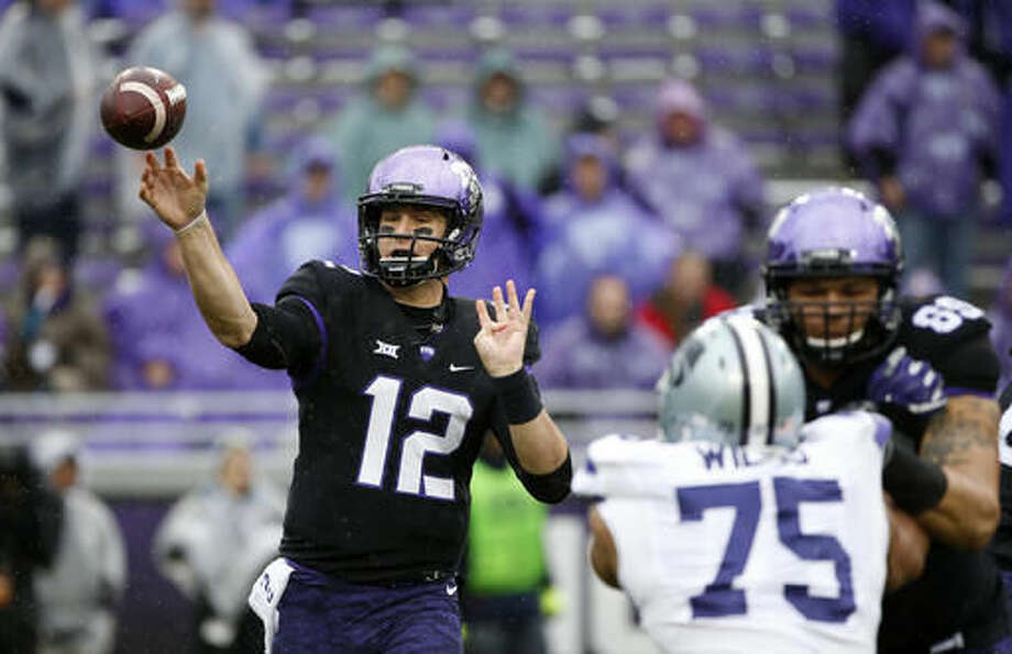 TCU quarterback Foster Sawyer (12) throws a pass against Kansas State during the first half of an NCAA college football game Saturday, Dec. 3, 2016, in Fort Worth, Texas. (AP Photo/Ron Jenkins)