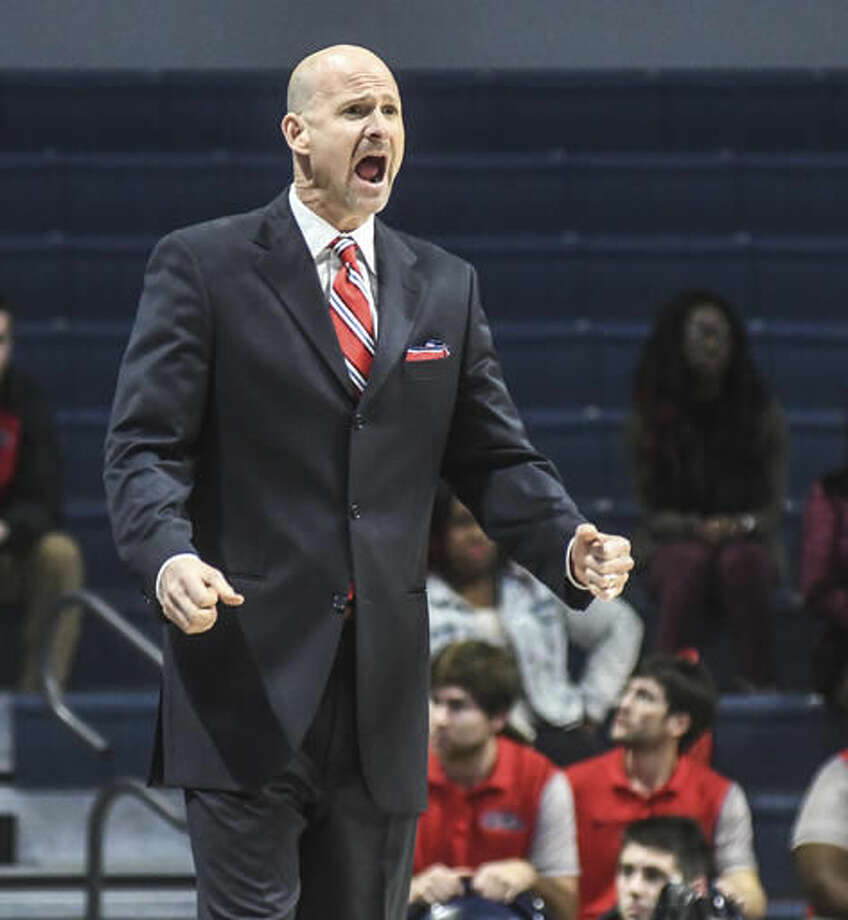Mississippi head coach Andy Kennedy reacts during the first half of an NCAA college basketball game against Memphis at the Pavilion at Ole Miss in Oxford, Miss., Saturday, Dec. 3, 2016. (Bruce Newman/The Oxford Eagle via AP)