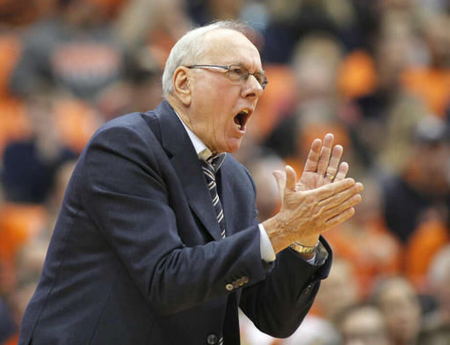 Syracuse head coach Jim Boeheim yells to his players in the first half of an NCAA college basketball game against North Florida in Syracuse, N.Y., Saturday, Dec. 3, 2016. (AP Photo/Nick Lisi)