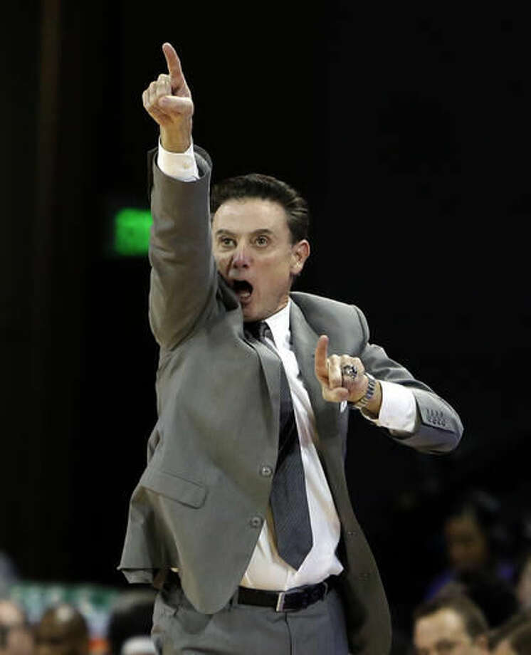 Louisville head coach Rick Pitino reacts to a foul call during the first half of an NCAA college basketball game against Grand Canyon, Saturday, Dec. 3, 2016, in Phoenix. (AP Photo/Rick Scuteri)