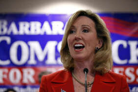 FILE - In this Nov. 4, 2014 file photo. then-Virginia Republican Congressional candidate, now-Rep. Barbara Comstock, R-Va. speaks in Ashburn, Va.  (AP Photo/Alex Brandon, File)