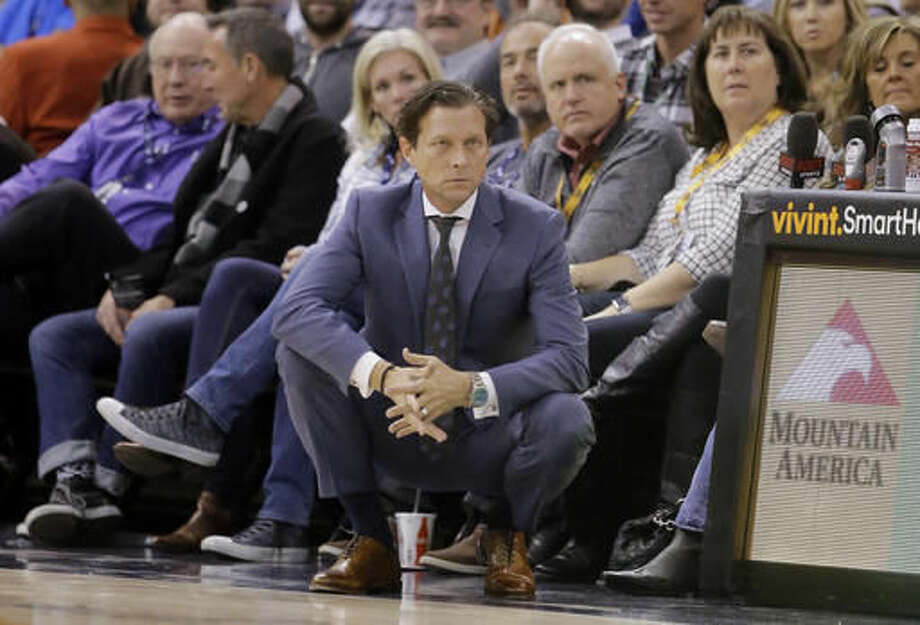 Utah Jazz head coach Quin Snyder looks on during the first half of an NBA basketball game against the Denver Nuggets Saturday, Dec. 3, 2016, in Salt Lake City. (AP Photo/Rick Bowmer)