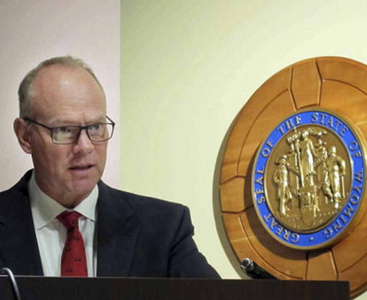 Wyoming Gov. Matt Mead discusses his state budget recommendations at a press conference in Cheyenne, Wyo., Wednesday, Nov. 30, 2016. Mead says he will recommend that state lawmakers consider how to address long term education funding when they convene their general legislative session in January. (AP Photo/Ben Neary)