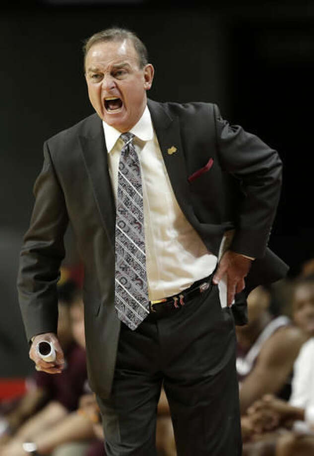 Mississippi State head coach Vic Schaefer directs his team during the first half of an NCAA college basketball game against Iowa State, Saturday, Dec. 3, 2016, in Ames, Iowa. (AP Photo/Charlie Neibergall)