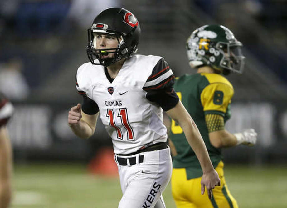 Camas kicker Michael Boyle (11) reacts after his field goal against Richland during the first half of the Washington Div. 4A high school football championship, Saturday, Dec. 3, 2016, in Tacoma, Wash. (AP Photo/Ted S. Warren)