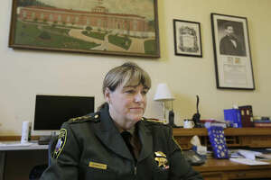 San Francisco Sheriff Vicki Hennessy is interviewed in her office after attending a meeting at City Hall in San Francisco by city leaders and community activists to reaffirm the city's commitment to being a sanctuary city in response to Donald Trump's support of deportations and other measures against immigrants Monday, Nov. 14, 2016. (AP Photo/Jeff Chiu)
