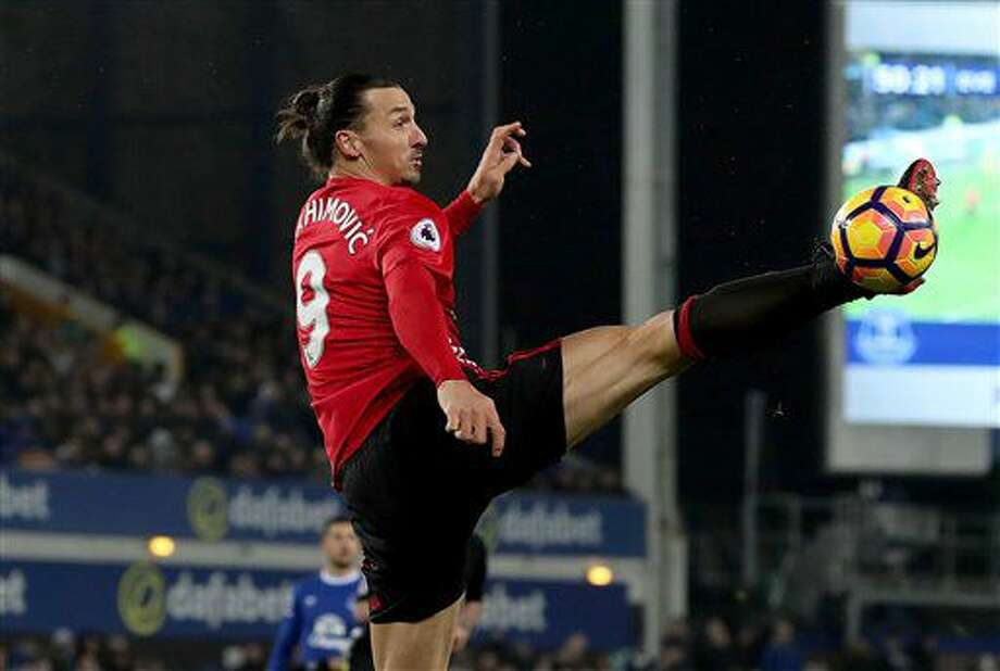Manchester United's Zlatan Ibrahimovic controls the ball, during the English Premier League soccer match between Everton and Manchester United,at Goodison Park, in Liverpool, England, Sunday Dec. 4, 2016. (Peter Byrne/PA via AP)