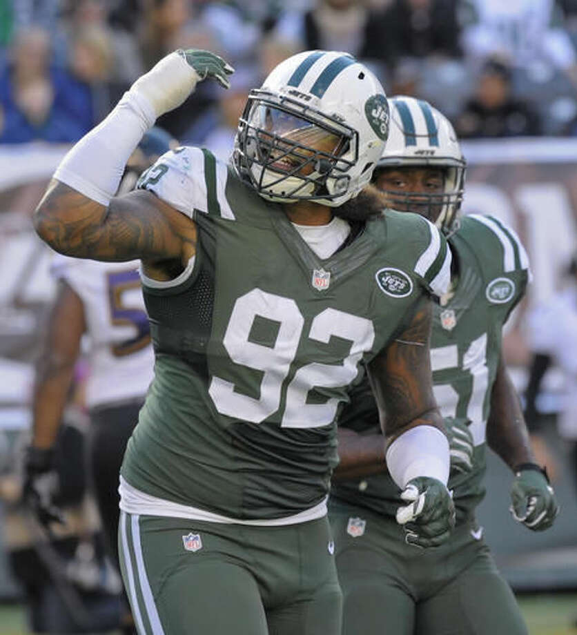 FILE - In this Sunday, Oct. 23, 2016, file photo, New York Jets defensive tackle Leonard Williams (92) reacts after a defensive play against the Baltimore Ravens during the fourth quarter of an NFL football game, in East Rutherford, N.J. Williams leads New York with six sacks and 22 quarterback hurries in his second season, one of the few bright spots for the Jets (3-8). The Jets host the Indianapolis Colts on Monday night, Dec. 5. (AP Photo/Bill Kostroun, File)