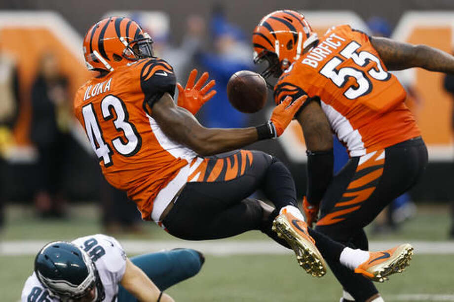 Cincinnati Bengals free safety George Iloka (43) breaks up a pass to Philadelphia Eagles tight end Zach Ertz (86) that leads to an interception by strong safety Shawn Williams in the second half of an NFL football game, Sunday, Dec. 4, 2016, in Cincinnati. (AP Photo/Gary Landers)