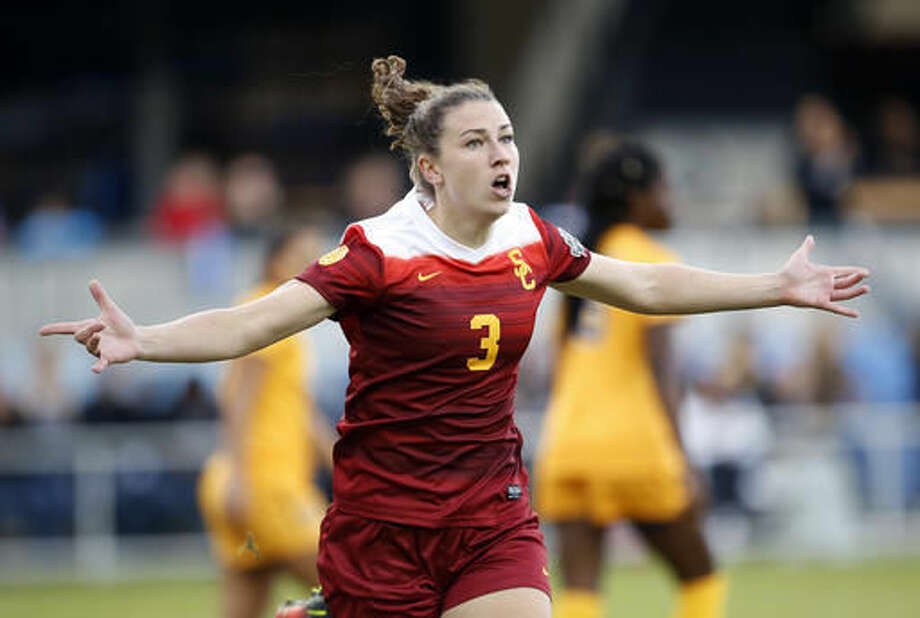 Southern California's Morgan Andrews celebrates after scoring a goal against West Virginia during the first half in the NCAA Women's College Cup soccer final, Sunday, Dec. 4, 2016 in San Jose, Calif. (AP Photo/Tony Avelar)