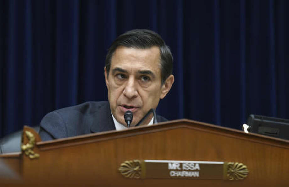 FILE - In this Dec. 9, 2014 file photo, Rep. Darrell Issa, R-Calif. speaks on Capitol Hill in Washington. Republicans seemed on track to secure two more years of House control in Tuesday's elections but with erosion of their historic majority, leaving hard-line conservatives with added clout to vex party leaders. (AP Photo/Molly Riley, File)