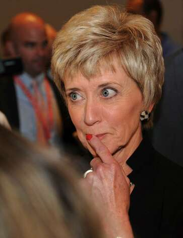 US Senate candidate Linda McMahon listens to the nomination results at the GOP convention in downtown Hartford, Conn. on Friday May 21, 2010. Photo: Christian Abraham / Connecticut Post