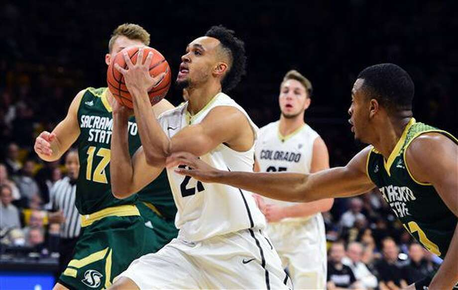 5. Derrick White, ColoradoAge/Height: 22, 6-4White has come a long way from beginning his career at Colorado-Colorado Springs to playing his way up draft boards at Portsmouth and at the combine as a solid athlete and shooter. Photo: Cliff Grassmick