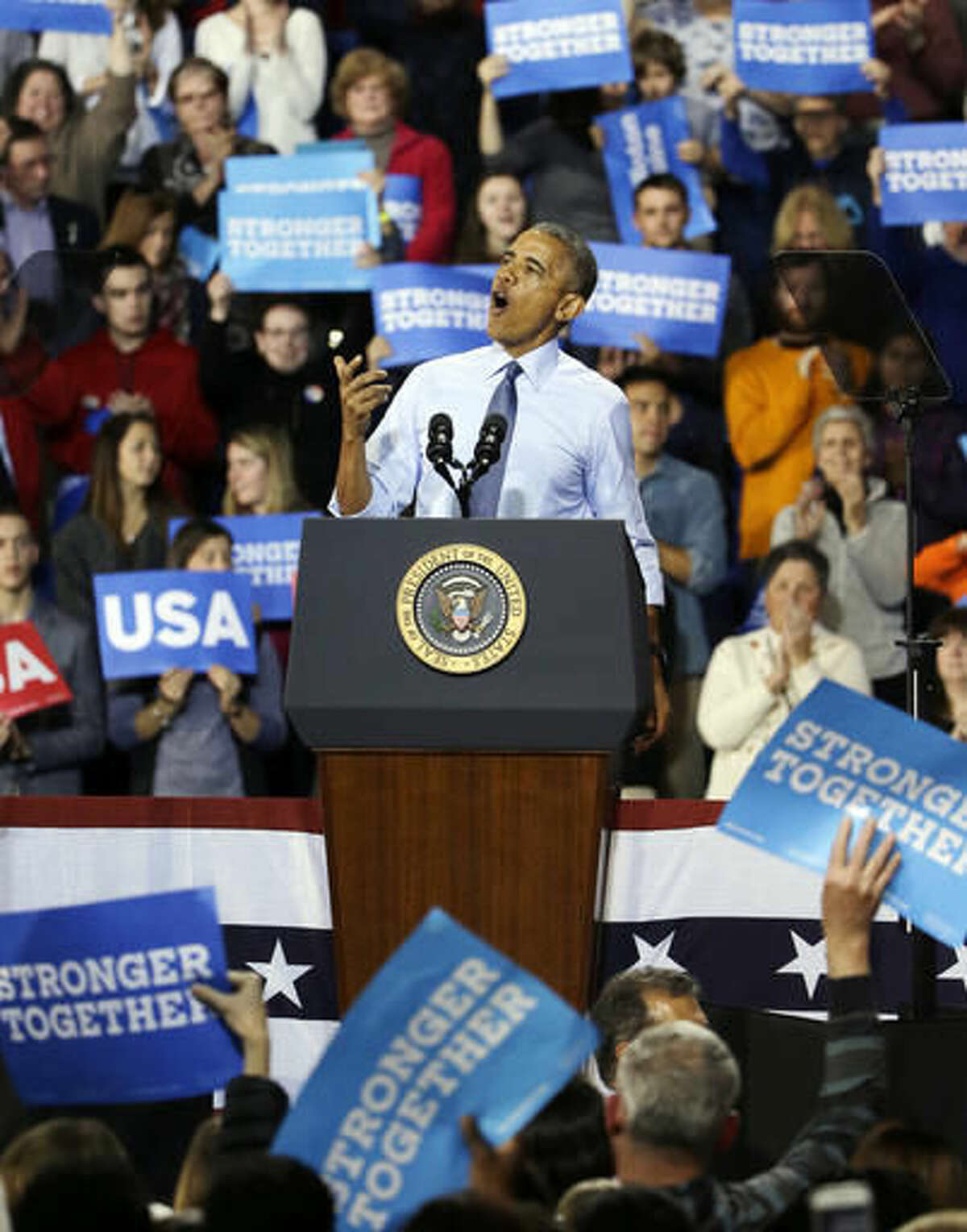 President Barack Obama speaks at a campaign event for Democratic presidential candidate Hillary Clinton at the University of New Hampshire, Monday, Nov. 7, 2016, in Durham, N.H. (AP Photo/Elise Amendola)