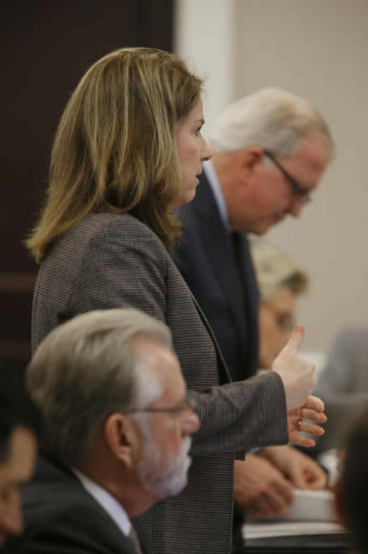Ninth Circuit Solicitor Scarlett Wilson, speaks to Judge Clifton Newman during the murder tidal of former North Charleston Police Officer Michael Slager, Monday, Nov. 7, 2016, in Charleston, S.C. Slager is on trial facing a murder charge in the shooting death of Walter Scott, who was gunned down after he fled from a traffic stop. (Grace Beahm/Post and Courier via AP, Pool)