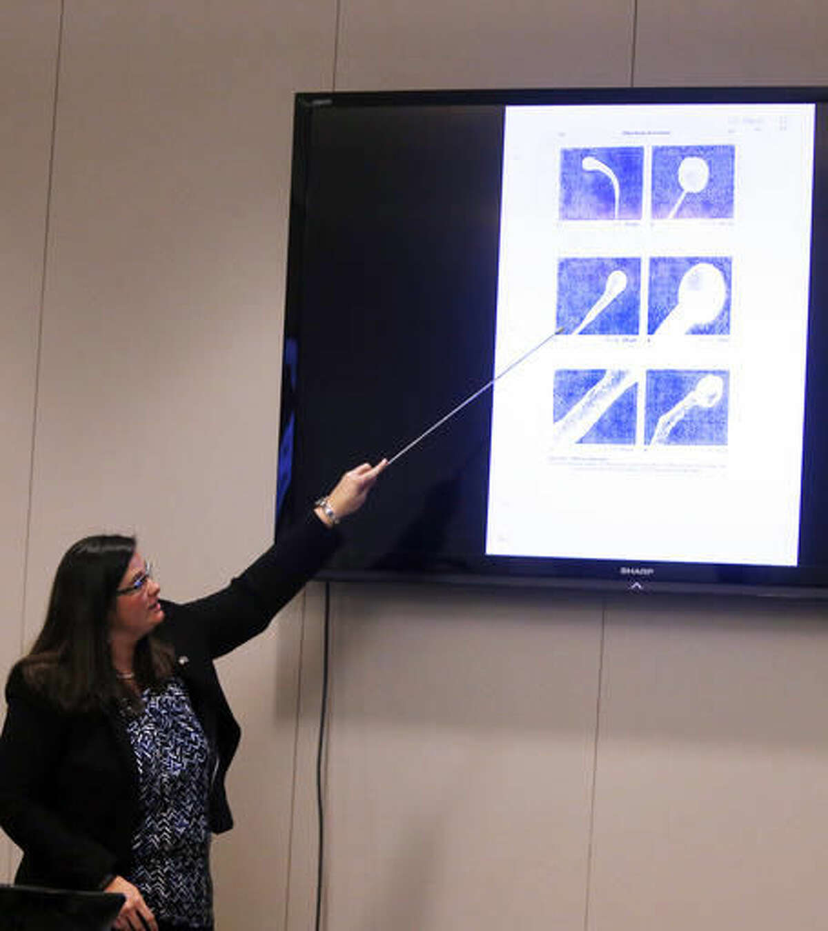 State Law Enforcement Division trace evidence examiner Megan Fletcher makes a presentation in the murder trial of former North Charleston police officer Michael Slager at the Charleston County court in Charleston, S.C., Monday, Nov. 21, 2016. Slager is charged in the April 2015 shooting death of 50-year-old Walter Scott as Scott fled from a traffic stop. (Grace Beahm/Post and Courier via AP, Pool)