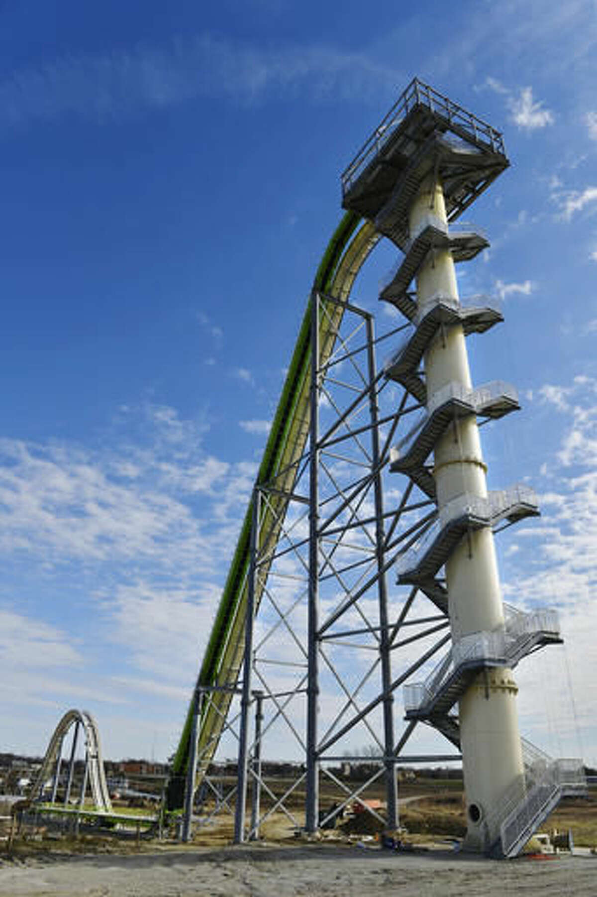 FILE - This November 2013 file photo shows Schlitterbahn Waterparks and Resorts new Verruckt waterslide in Kansas City, Kan. The waterslide on which a state lawmaker's 10-year-old son was killed Aug 7, 2016, will be demolished once the unfolding investigation of the tragedy is finished, the water park's operators said Tuesday, Nov. 22, 2016. (Jill Toyoshiba/The Kansas City Star via AP, File)