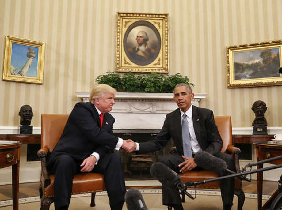 President Barack Obama and President-elect Donald Trump shake hands following their meeting in the Oval Office of the White House in Washington, Thursday, Nov. 10, 2016. (AP Photo/Pablo Martinez Monsivais) Photo: Pablo Martinez Monsivais