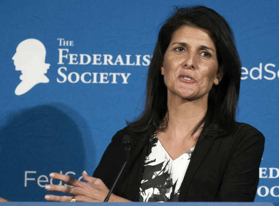 In this photo taken Nov. 18, 2016, South Carolina Gov. Nikki Haley speaks in Washington. President-elect Donald Trump choice for United Nations ambassador, Haley, has limited foreign policy experience. That's in contrast to other U.N. ambassadors who had deep roots in international affairs at the time of their nominations. (AP Photo/Cliff Owen) Photo: Cliff Owen