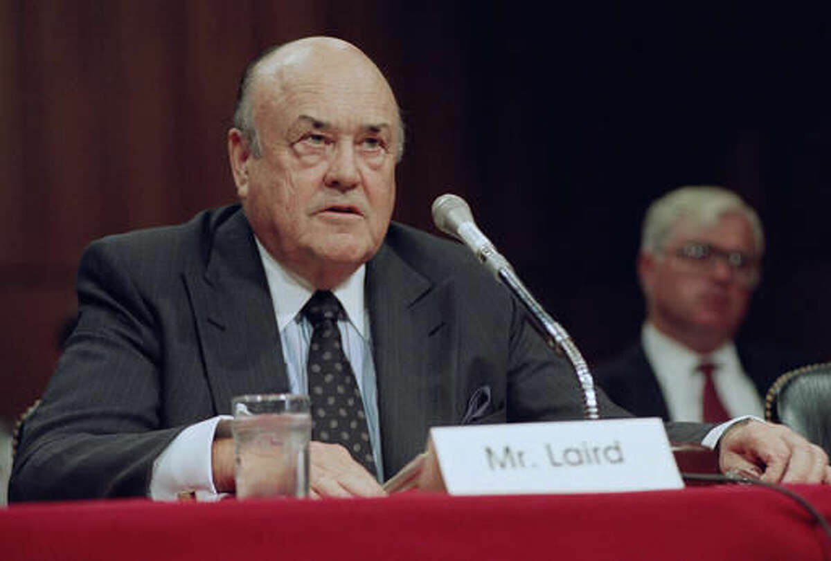FILE - In this Sept. 1992 file photo, former Defense Secretary Melvin R. Laird testifies on Capitol Hill in Washington. Laird, Defense Secretary under Richard Nixon who helped engineer withdrawal of U.S. troops from Vietnam, has died. (AP Photo/John Duricka, File)
