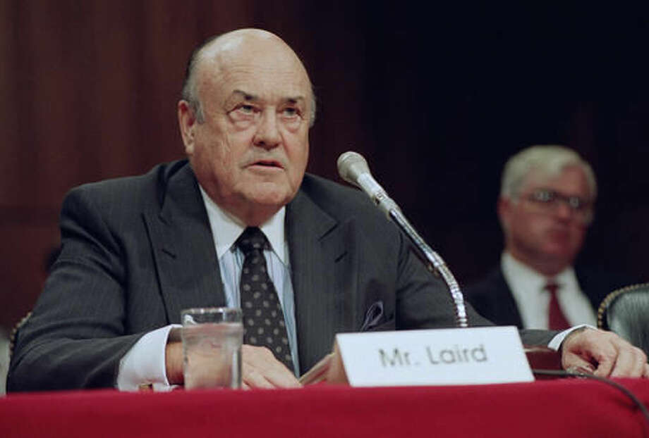 FILE - In this Sept. 1992 file photo, former Defense Secretary Melvin R. Laird testifies on Capitol Hill in Washington. Laird, Defense Secretary under Richard Nixon who helped engineer withdrawal of U.S. troops from Vietnam, has died. (AP Photo/John Duricka, File) Photo: John Duricka