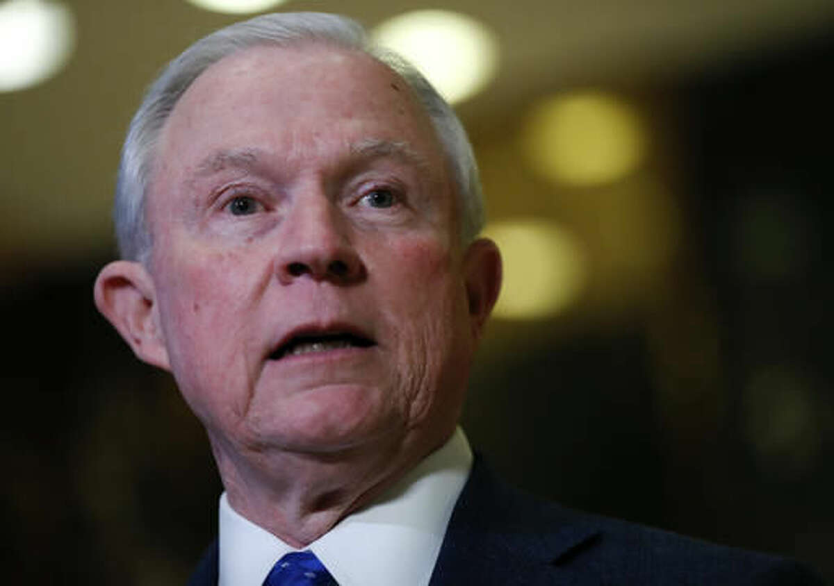 In this Nov. 17, 2016, photo, Sen. Jeff Sessions, R-Ala. speaks to media at Trump Tower in New York. An Obama administration Justice Department that emphasized the need to be