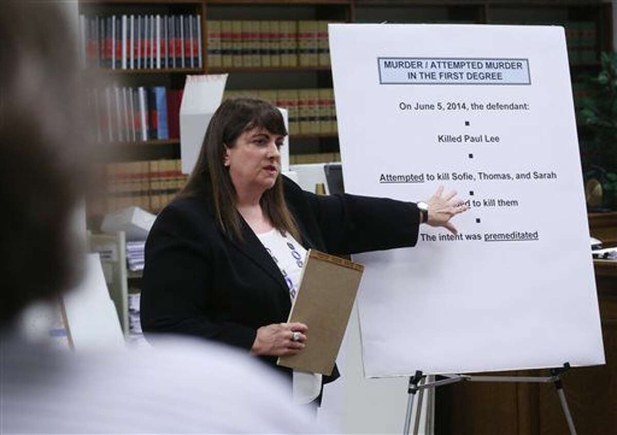 King County Senior Deputy Prosecuting Attorney Kristin Richardson presents closing arguments in a trial of accused Seattle Pacific University gunman Aaron Ybarra before the jury and King County Superior Court Judge Jim Rogers in Seattle, Monday, Nov. 14, 2016. (Ellen M. Banner/The Seattle Times via AP)