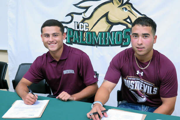 LCC baseball players Ruben Solis and Carlos Barrera signed their letters of intent Tuesday to play collegiately in Laredo at TAMIU.