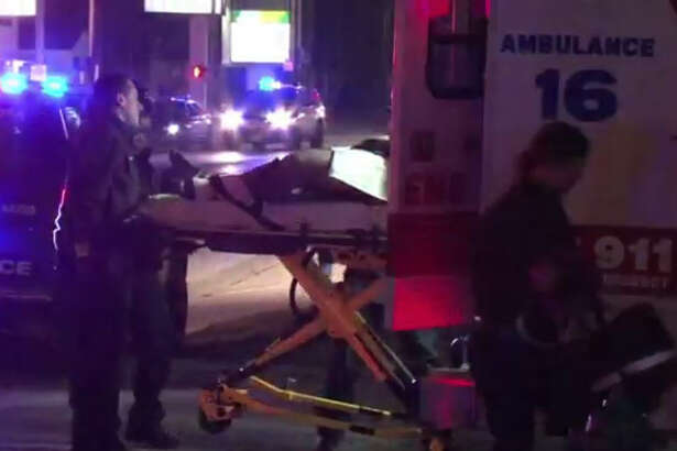 A man was injured when crash a allegedly stolen motoryckle while leading polive on a chase about 4 a.m. Tuesday, Dec. 6, 2016, on Shepherd near Richmond in southwest Houston. (Metro Video)
