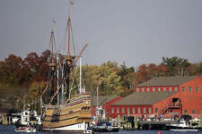 In this Nov. 2, 2016 photo, the Mayflower II arrives at Mystic Seaport in Stonington, Conn. The 1957 replica of the vessel that brought the Pilgrims to the new world in 1620, is there for a complete overhaul in time for festivities in 2020 that will mark the 400th anniversary of the Pilgrim landing. (Sean D. Elliot/The Day via AP)