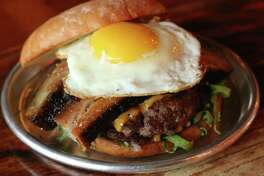Lady Liberty is the new permanent food truck for Liberty Station, 2101 Washington. Shown: Give Me Death Burger (two patties with two slices of cheddar cheese, thick-sliced smoked pork belly and a sunny-side up egg).