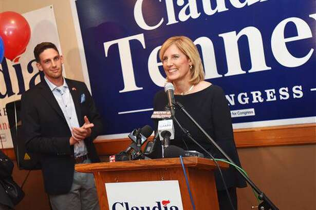 Republican state Assemblywoman Claudia Tenney speaks after learning she is the projected winner of the 22nd Congressional District of New York at Tom Cavallo's Restaurant in New Hartford, N.Y., Tuesday, Nov. 8, 2016. (Sarah Condon /Observer-Dispatch via AP)
