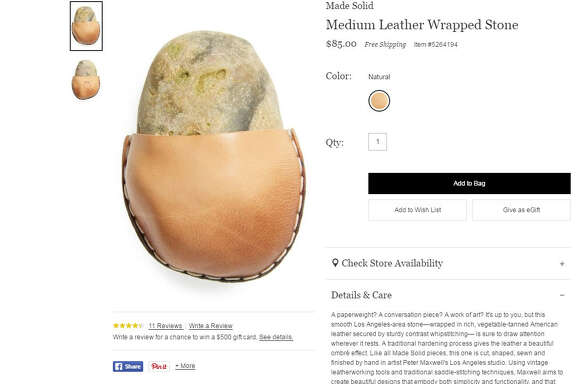 Nordstrom is selling a rock in a leather pouch for $85. We can't be sure what the point of the rock is, but it sure would make for a weird, expensive gift.  >>KEEP CLICKING TO SEE WHERE TO GET GIFTS FOR EVERY KIND OF PERSON ON YOUR GIFT LIST.  Photo: Nordstrom Website