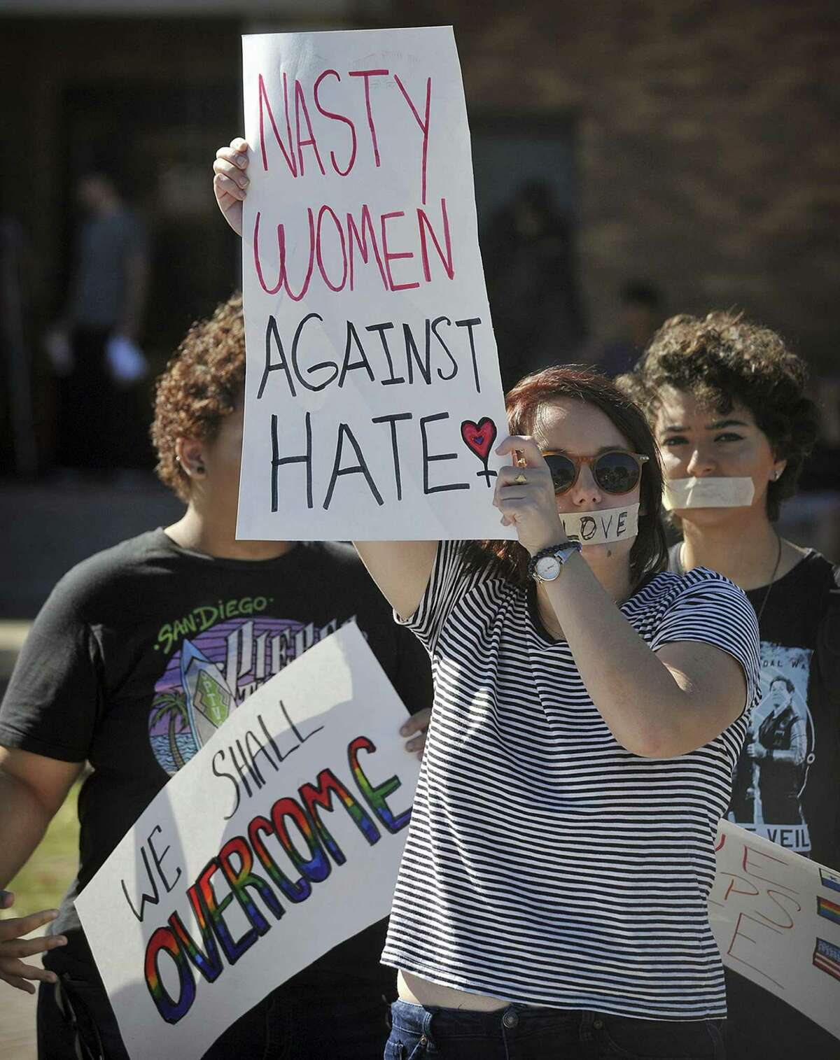 The election of Donald Trump has spawned fears on many Texas campuses. Eliza Cameron and several other Midwestern State University students march in protest of President-elect Donald Trump around campus on Nov. 16 in Wichita Falls.