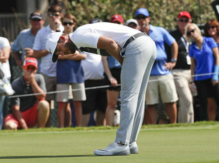 FILE - In this Sept. 25, 2016, file photo, Kevin Chappell reacts after missing a putt on the fourth hole during the final round of play at the Tour Championship golf tournament at East Lake Golf Club, in Atlanta. It's easy to think about everything that didn't go Chappell's way over the last year because he is still searching for his first PGA Tour victory going into the RSM Classic at Sea Island, the final official PGA Tour event of the year. (AP Photo/John Bazemore, File)