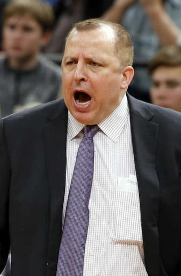 Minnesota Timberwolves head coach Tom Thibodeau yells at his team in the second half of an NBA basketball game against the Charlotte HornetsTuesday, Nov. 15, 2016, in Minneapolis. The Hornets won 115-108. (AP Photo/Jim Mone)