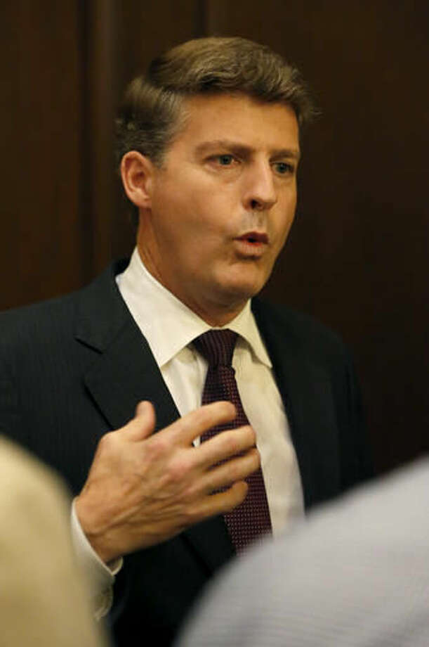 Hal Steinbrenner, owner of the New York Yankees, talks with reporters during the baseball owners meetings at the Drake Hotel Wednesday, Nov. 16, 2016, in Chicago. (AP Photo/Charles Rex Arbogast)