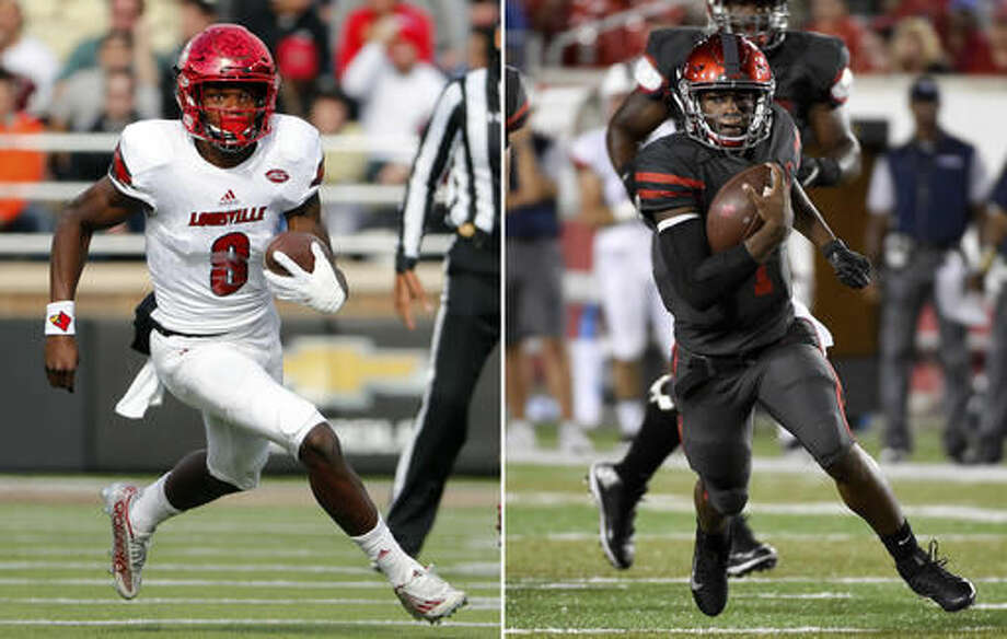 FILE - At left, in a Nov. 5, 2016, file photo, Louisville quarterback Lamar Jackson runs during the first half of an NCAA football game against the Boston College at Alumni Stadium in Boston, Mass. At right, in a Sept. 29, 2016, file photo, Houston quarterback Greg Ward Jr. (1) runs past the Connecticut defense en route to a 30-yard touchdown in the first half of an NCAA college football game, in Houston. No. 3 Louisville (9-1) is in the hunt for a spot in the College Football Playoff as the Cardinals prepare to face Houston (8-2) on Thursday night, Nov. 17. (AP Photo/File)