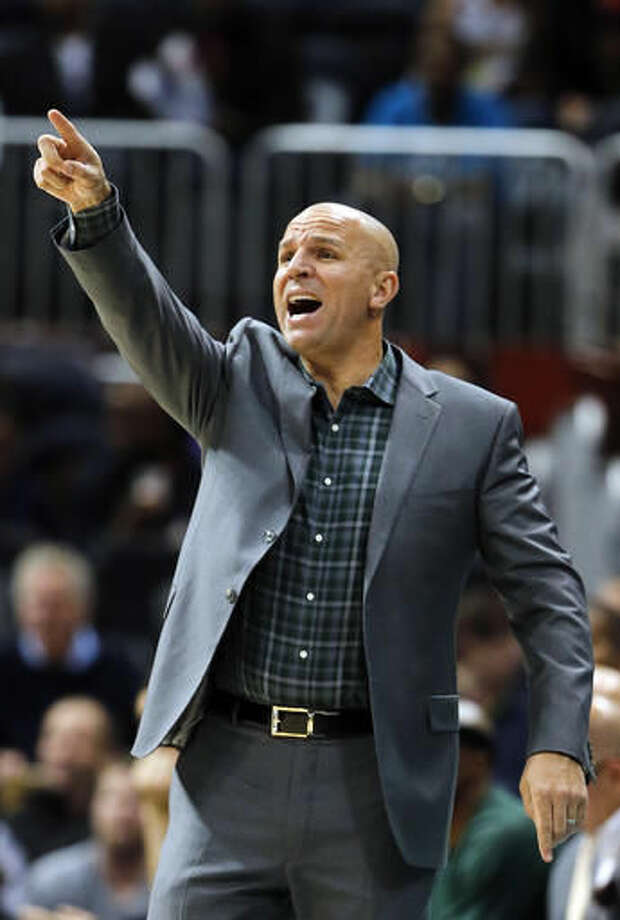 Milwaukee Bucks head coach Jason Kidd signals to his team in the first half of an NBA basketball game against Atlanta Hawks Wednesday, Nov. 16, 2016, in Atlanta. (AP Photo/John Bazemore)
