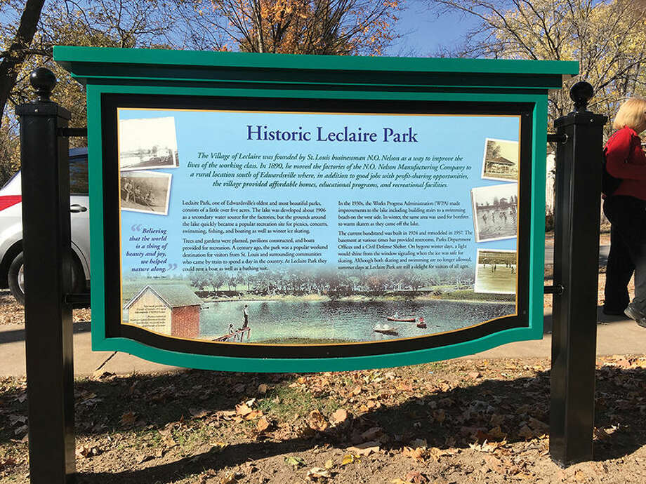The new sign offers a brief history of Leclaire Park.