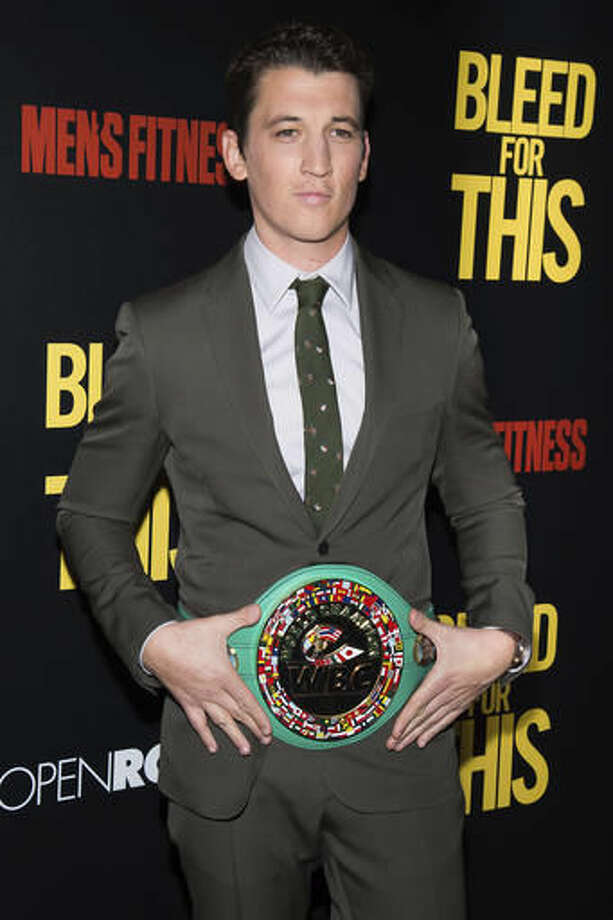 """Miles Teller attends the premiere of """"Bleed For This"""" hosted by Open Road and Men's Fitness at AMC Loews Lincoln Square on Monday, Nov. 14, 2016, in New York. (Photo by Charles Sykes/Invision/AP)"""