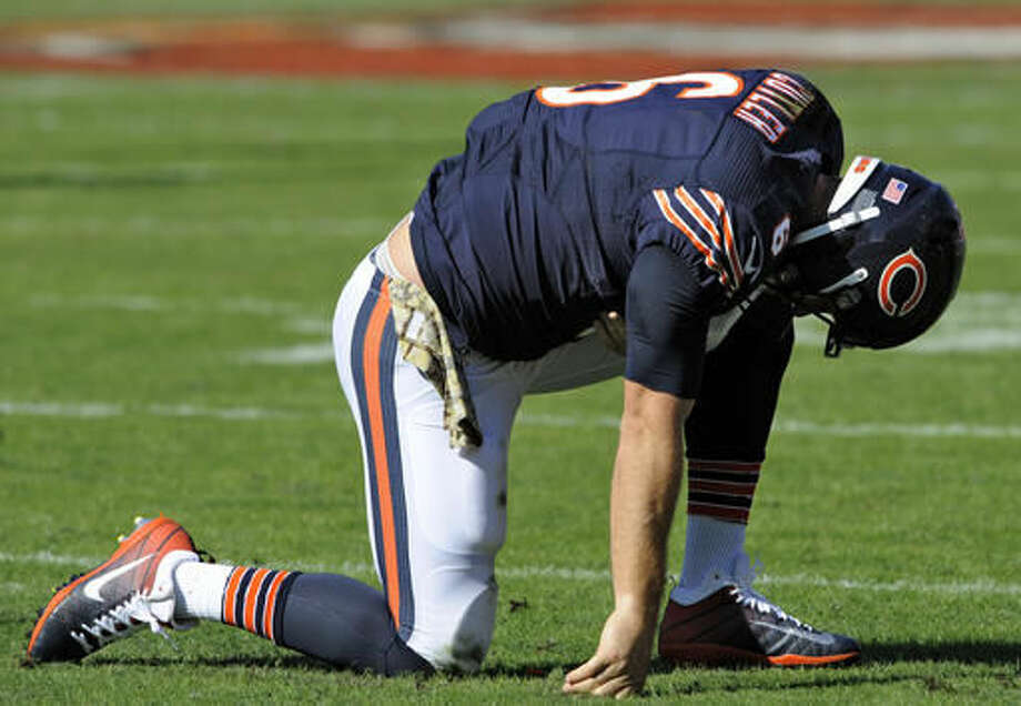 Chicago Bears quarterback Jay Cutler (6) reacts after turning the ball over to the Tampa Bay Buccaneers during the second quarter of an NFL football game Sunday, Nov. 13, 2016, in Tampa, Fla. (AP Photo/Steve Nesius)