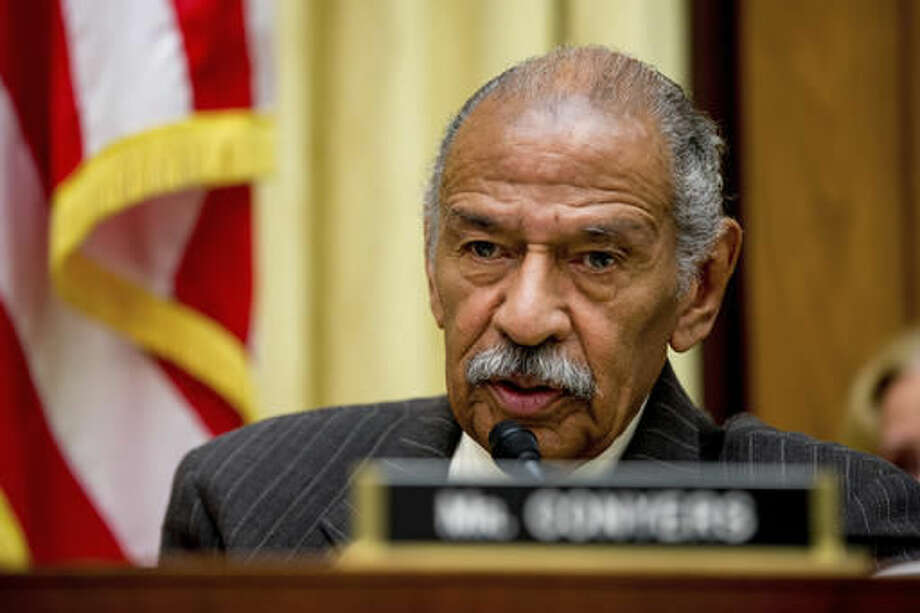 FILE - In this May 24, 2016, file photo, Rep. John Conyers, D-Mich., ranking member on the House Judiciary Committee, speaks on Capitol Hill in Washington during a hearing. Police in Houston say they're searching for Conyers' son after he was reported missing this week. Twenty-one-year-old Carl Conyers, a student at the University of Houston, was last seen Tuesday by his roommate. (AP Photo/Andrew Harnik, File)