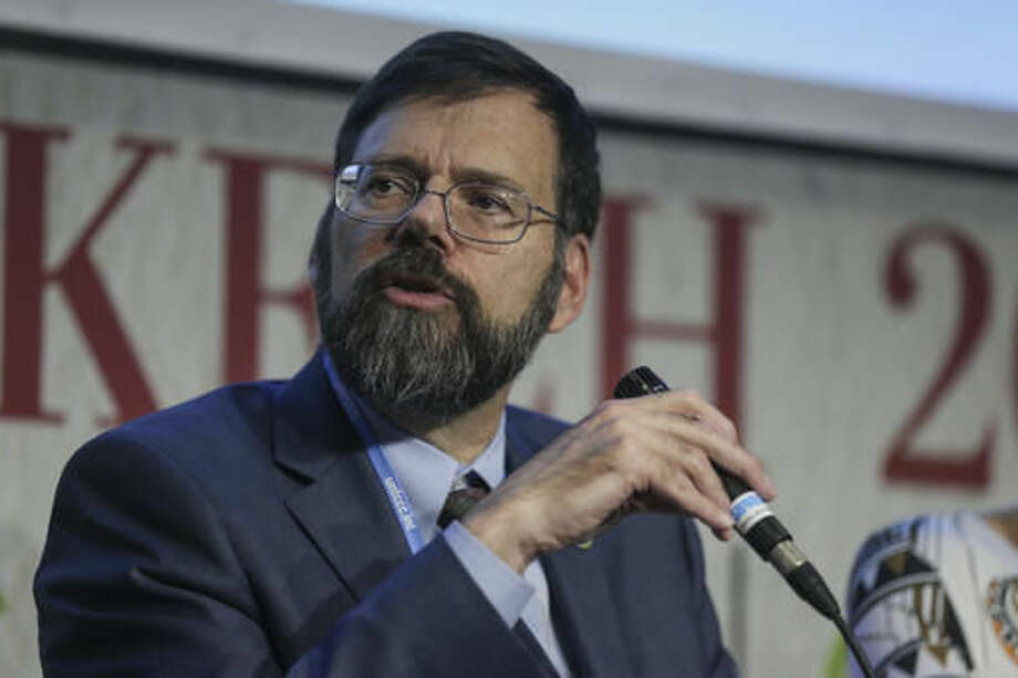 U.S State Department Special Envoy for Climate Change, Jonathan Pershing, speaks during the launch of the 2050 Pathways Platform, at the COP22 climate change conference, in Marrakech, Morocco, Thursday, Nov. 17, 2016. (AP Photo/Mosa'ab Elshamy)