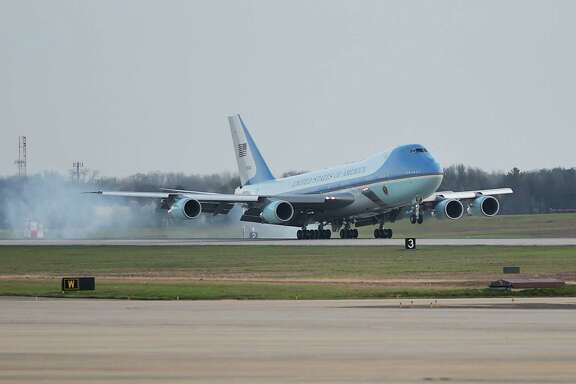 "File photo of Air Force One, a Boeing 747, landing at Andrews Air Force Base in Maryland. Trump tweeted early Tuesday, ""Boeing is building a brand new 747 Air Force One for future presidents, but costs are out of control, more than $4 billion. Cancel order!"""